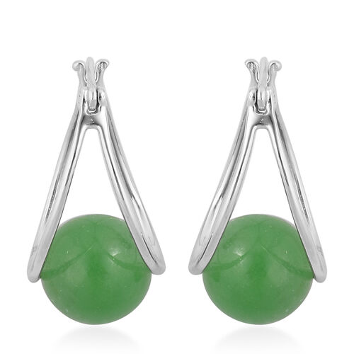 Super Auction - Burmese Green Jade (Rnd 10 mm) Hoop Earrings (with Clasp) in Rhodium Plated Sterling Silver 17.000 Ct.