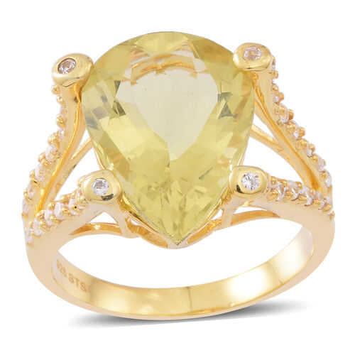 Lemon Quartz (Pear 8.50 Ct), Natural White Cambodian Zircon Ring in 14K Gold Overlay Sterling Silver 9.000 Ct. Silver wt 4.65 Gms.