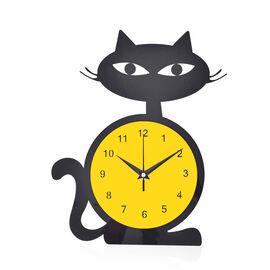 Modern Stylish Black and Yellow Cat Design Wall Clock