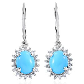 Limited Edition - AAA Arizona Sleeping Beauty Turquoise (Ovl), Natural Cambodian Zircon Lever Back Earrings in Platinum Overlay Sterling Silver 3.750 Ct.