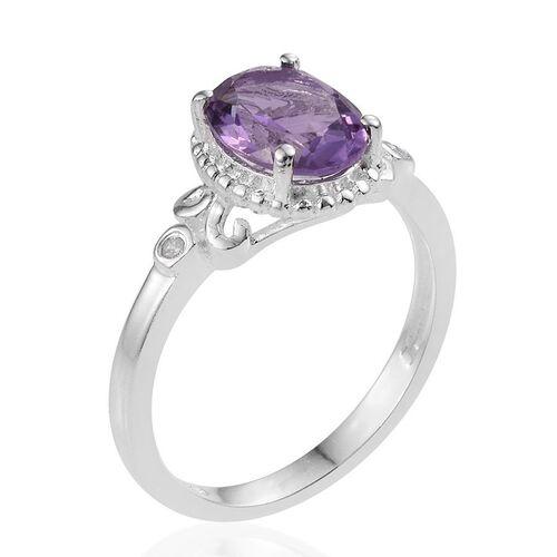 Rose De France Amethyst (Ovl), Diamond Ring in Sterling Silver 1.520 Ct.