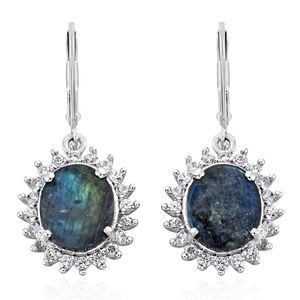 Spectrolite (Ovl), Natural Cambodian Zircon Lever Back Earrings in Platinum Overlay Sterling Silver 5.750 Ct.