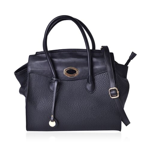 Black Colour Tote Bag with Adjustable and Removable Shoulder Strap (Size 32X30X15 Cm)
