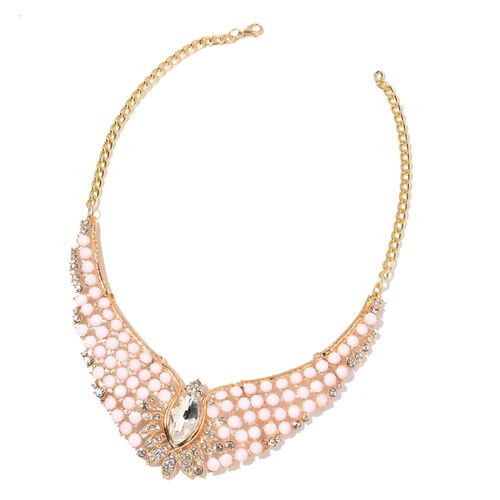 Glamour Edition  - Simulated White Diamond and White Austrian Crystal BIB Necklace (Size 18 with 2 inch Extender) and Hook Earrings in Yellow Gold Tone
