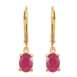 African Ruby (Ovl) Lever Back Earrings in 14K Gold Overlay Sterling Silver 2.000 Ct.