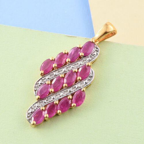 One Time Deal- John Saul Ruby (Ovl) Pendant in 14K Gold Overlay Sterling Silver 3.250 Ct.