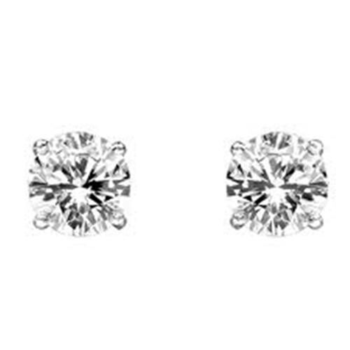 14K W Gold EGL Certified Diamond (Rnd) (G-H and I1-I2) Stud Earrings 0.500 Ct.