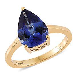ILIANA 18K Yellow Gold 3.50 Ct AAA Tanzanite Pear Solitaire Ring