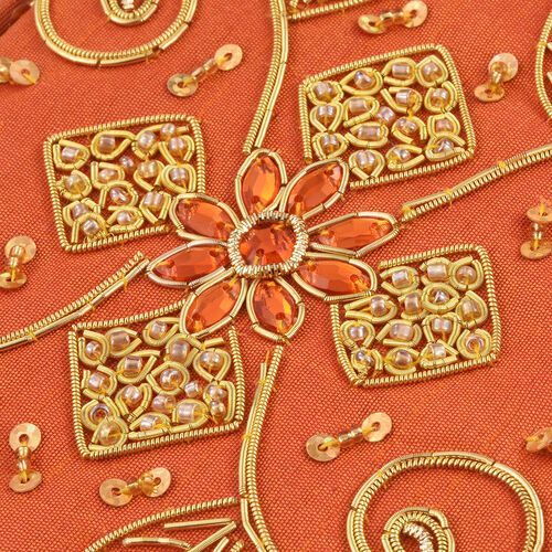 Hand Crafted Embellished Zari Work Orange Colour Notebook with Pen Set  (Size 17.78X12.70 Cm)