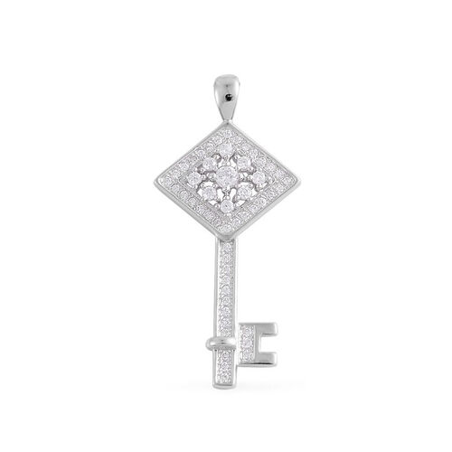 ELANZA AAA Simulated White Diamond Key Pendant in Rhodium Plated Sterling Silver