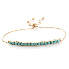 American Turquoise (Rnd) Adjustable Bracelet (Size 6.5 to 7.5) in 14K Gold Overlay Sterling Silver 1.750 Ct.