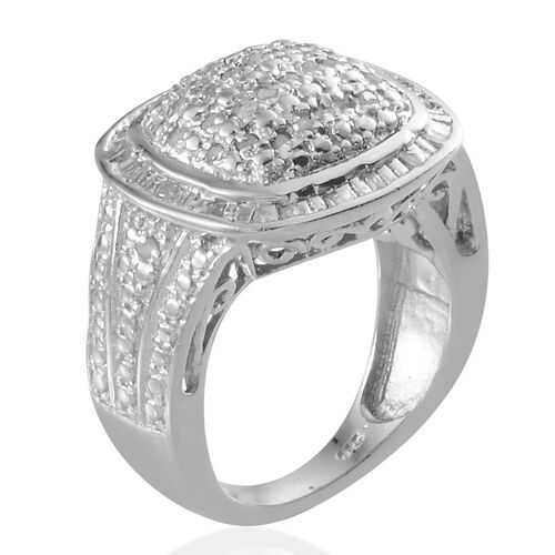 Diamond (Rnd) Ring in Platinum Overlay Sterling Silver 0.330 Ct.