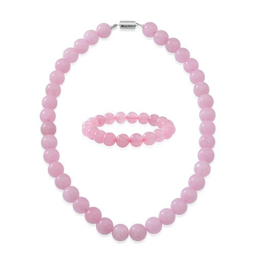 Rose Quartz Beads Necklace (Size 18 with Magnetic Clasp) and Stretchable Bracelet (Size 7.5) in Rhodium Plated Sterling Silver 600.00 Ct.
