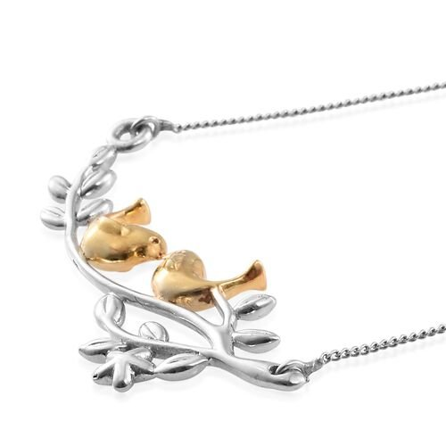 Tweeting Birds Couple on Live Branch Silver Necklace (Size 18) in Platinum and Gold Overlay 4.00 Gms.