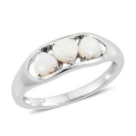 Australian White Opal (Hrt) Trilogy Ring in Platinum Overlay Sterling Silver 1.000 Ct.