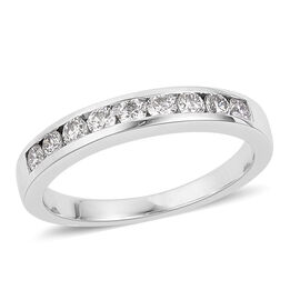 RHAPSODY 0.50 Carat IGI Certified Diamond (VS/E-F) Half Eternity Band Ring in 950 Platinum 5.74 gms