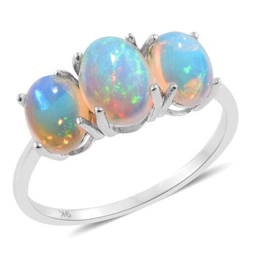 9K W Gold AA Ethiopian Welo Opal (Ovl 1.25 Ct) 3 Stone Ring 2.750 Ct.