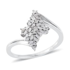 Designer Inspired Fire Cracker Diamond (Bgt) Ring in Platinum Overlay Sterling Silver 0.330 Ct.