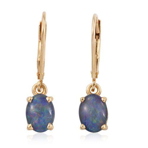 Boulder Opal Triplet (Ovl) Lever Back Earrings in 14K Gold Overlay Sterling Silver 1.750 Ct.