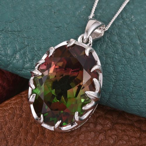 Bi-Color Tourmaline Quartz (Ovl) Pendant With Chain in Platinum Overlay Sterling Silver 13.500 Ct.