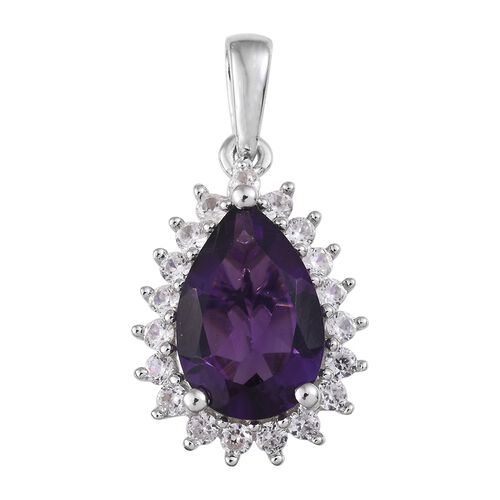 9K W Gold AA Lusaka Amethyst (Pear 2.75 Ct), Natural Cambodian Zircon Pendant 3.250 Ct.