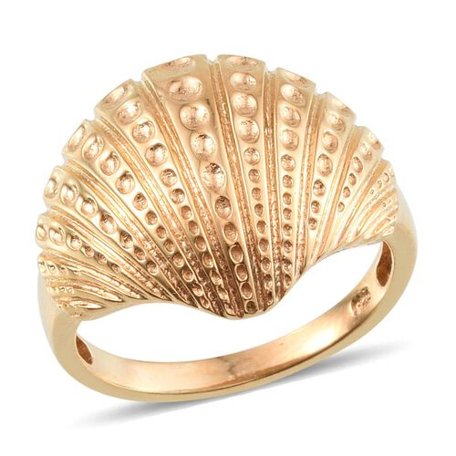 14K Gold Overlay Sterling Silver Shell Ring, Silver wt 6.70 Gms.
