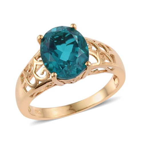 Capri Blue Quartz (Ovl) Solitaire Ring in 14K Gold Overlay Sterling Silver 5.250 Ct.