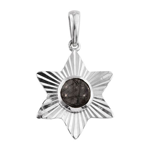 Black Rutile Quartz (Rnd) Solitaire Pendant in Sterling Silver 1.610 Ct.