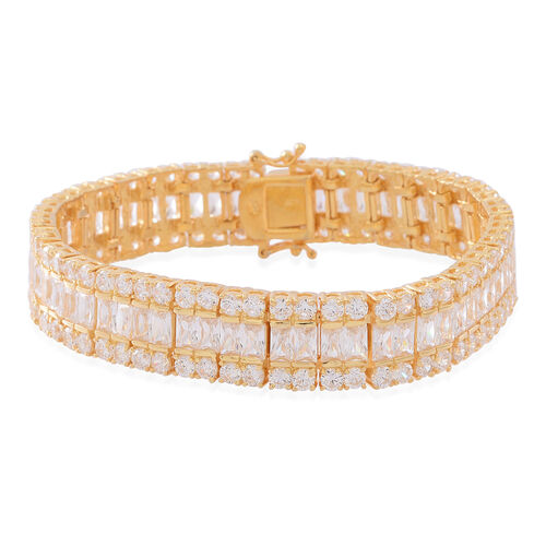 ELANZA AAA Simulated White Diamond (Oct) Bracelet (Size 7.5) in 14K Gold Overlay Sterling Silver