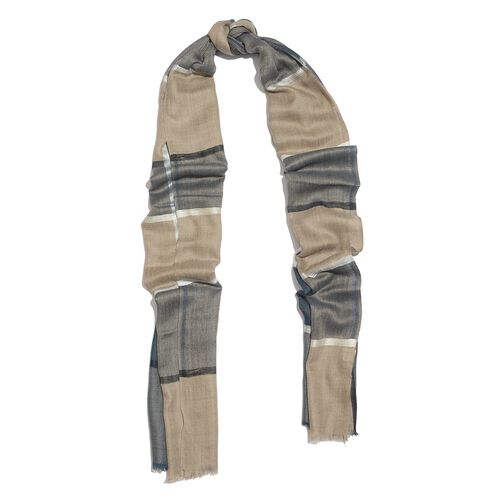 100% Cashmere Wool Blue, Grey and Multi Colour Checks Pattern Scarf (Size 200x70 Cm)