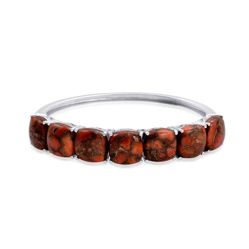 Orange Mohave Turquoise (Cush) Bangle (Size 7) in Platinum Overlay Sterling Silver 35.000 Ct.