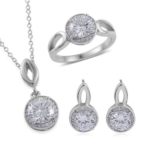 ELANZA AAA Simulated White Diamond Ring, Earrings and Pendant With Chain in Rhodium Plated Sterling Silver