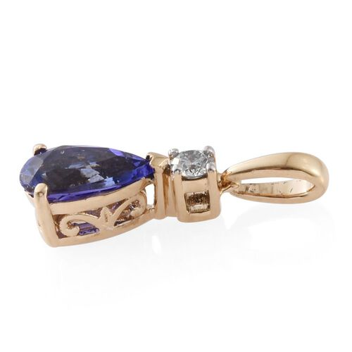ILIANA 18K Y Gold AAA Tanzanite (Pear 1.15 Ct), Diamond (SI/G-H) Pendant 1.250 Ct.