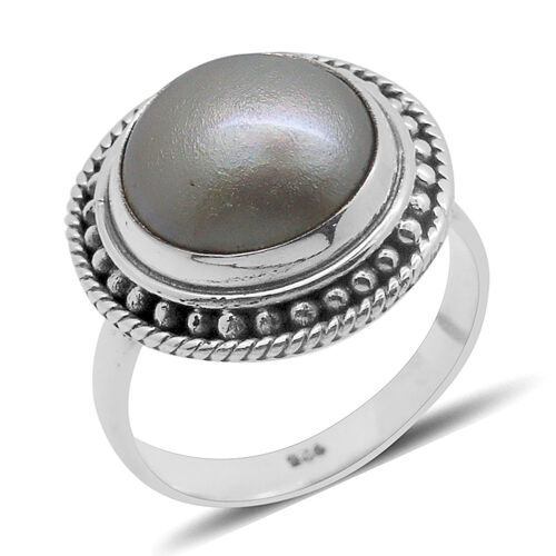 Royal Bali Collection Mabe Pearl (Rnd) Solitaire Ring in Sterling Silver 4.000 Ct.