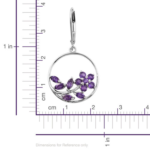 Amethyst 1.50 Ct Floral and Leaves Silver Lever Back Earrings in Platinum Overlay