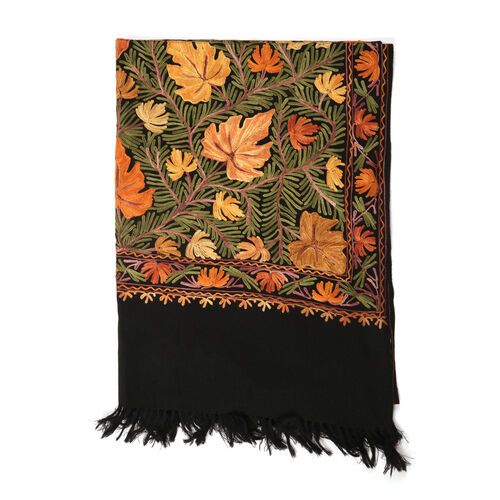 100% Fine Merino Wool Multi Colour Flowers Embroidered Black Colour Shawl (Size 180x70 Cm)