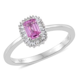 ILIANA 18K White Gold AAA Pink Sapphire (Oct), Diamond (SI/G-H) Ring 0.700 Ct.