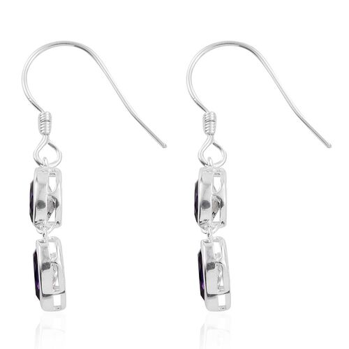 J Francis Crystal from Swarovski - Purple Velvet Crystal (Pear) Hook Earrings in Sterling Silver