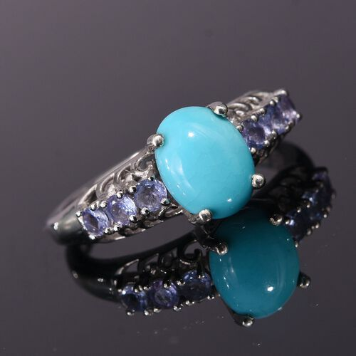 Arizona Sleeping Beauty Turquoise (Ovl 1.50 Ct), Tanzanite Ring in Platinum Overlay Sterling Silver 2.000 Ct.