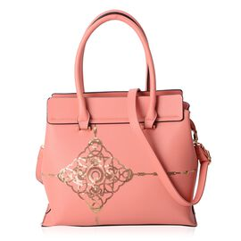 Pink and Golden Colour Sequins Tote Bag with External Zipper Pocket and Removable Shoulder Strap (Size 32.5x29x13 Cm)