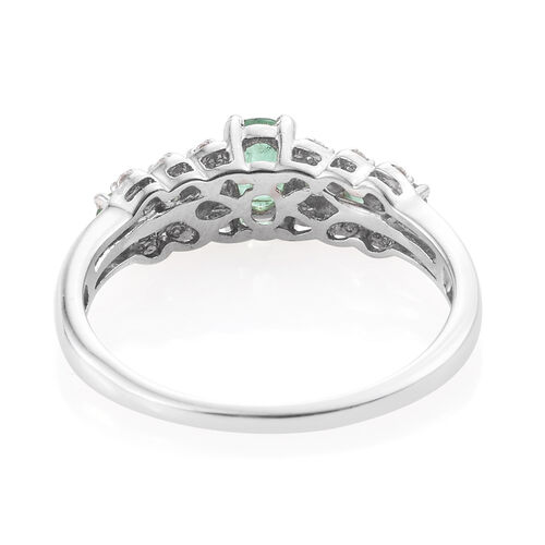 Kagem Zambian Emerald (Ovl), Natural Cambodian Zircon Ring in Platinum Overlay Sterling Silver 0.750 Ct.