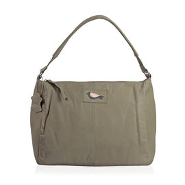100% Genuine Leather RFID Blocker Grey Colour Handbag with External Zipper Pocket and Adjustable Shoulder Strap (Size 36X28X16 Cm)