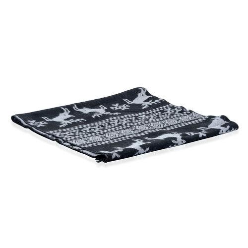 Deer Printed Black and Grey Scarf (Size 30x180 Cm)