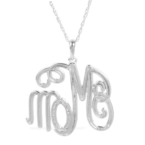 Diamond Mom Pendant with Chain (Size 18 with 2 inch Extender) in Sterling Silver 0.120 Ct. Silver wt 6.20 Gms.