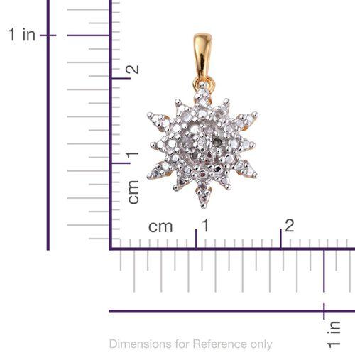 Diamond (Rnd) Starburst Pendant in 14K Gold Overlay Sterling Silver