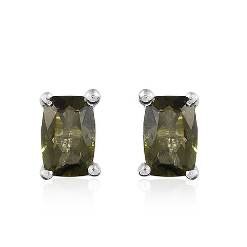 Bohemian Moldavite (Cush) Stud Earrings (with Push Back) in Platinum Overlay Sterling Silver 0.750 Ct.