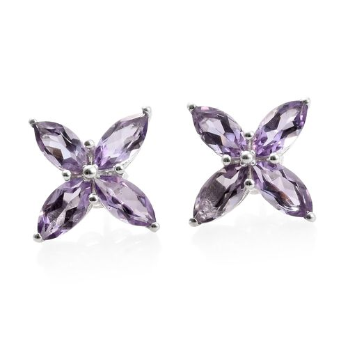 One Time Deal-Rose De France Amethyst (Mrq) Stud Earrings in Sterling Silver 4.000 Ct.