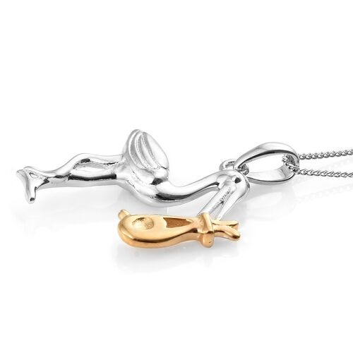Crane Bird Pendant With Chain in Platinum and Gold Plated Silver