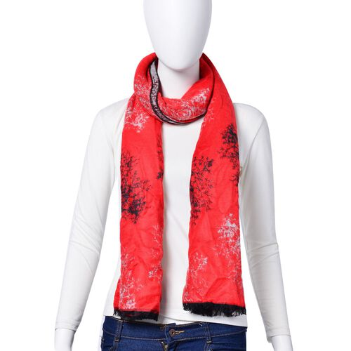 Tree Pattern Red and Grey Colour Double Sided Scarf (Size 180x70 Cm)