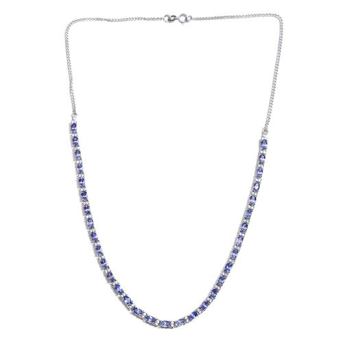 Tanzanite (Ovl), Natural Cambodian Zircon Necklace (Size 18) in Platinum Overlay Sterling Silver 9.750 Ct.